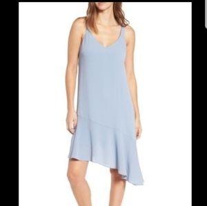 New! Lush Slate Blue Asymmetrical Ruffle Hem dress